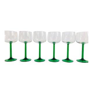 Vintage Green Stemmed Wine Glasses - Set of 6 For Sale