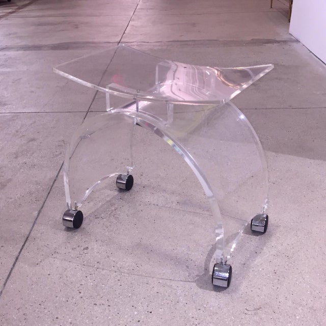 Vintage Lucite Stool on Chrome Plated Wheels - Image 2 of 9