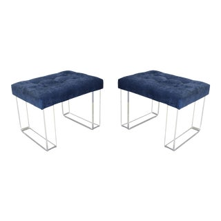 Infinity Style Blue Velvet & Lucite Benches - A Pair