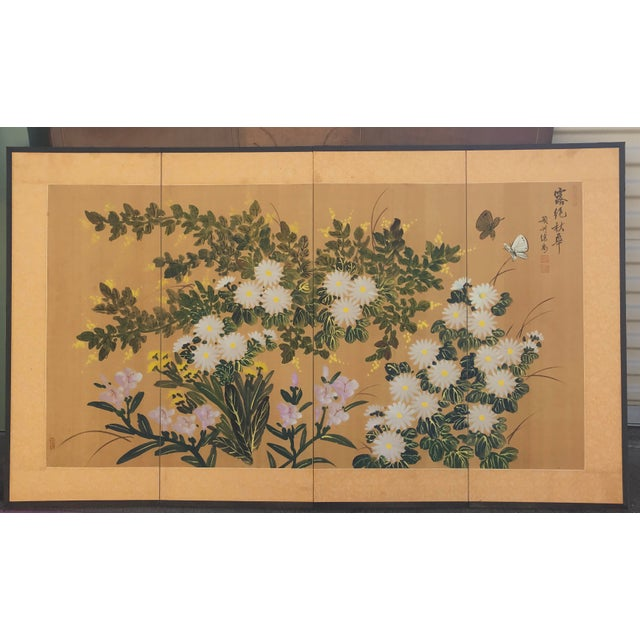 Chinese Hand Painted Floral Screen or Mural For Sale - Image 12 of 12