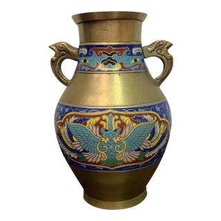 "Antique Hand Painted ""Champleve/Cloisonne"" Vase Large Urn For Sale"