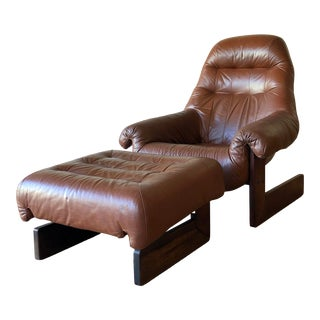 Vintage Percival Lafer Tufted Leather Lounge Chair & Ottoman With Rosewood Frame For Sale