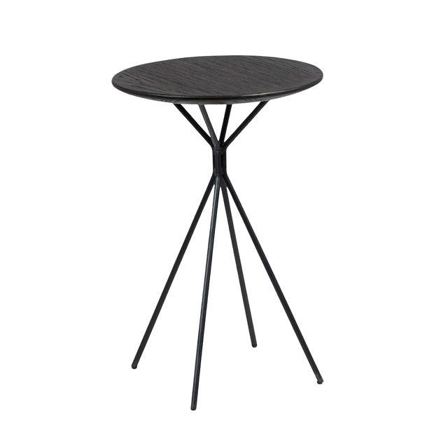 Modern Black Wood Top Side Table For Sale