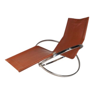 Midcentury Italian Folding Chaise Lounge Rocker For Sale