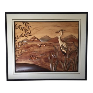 Vintage Blue Heron Large Artisan Hand Carved Woods Art Work Picture For Sale