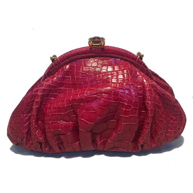 Contemporary Judith Leiber Small Red Alligator Handbag For Sale - Image 3 of 9