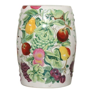 Porcelain Garden Stool Depicting Array of Fruit on Vine For Sale