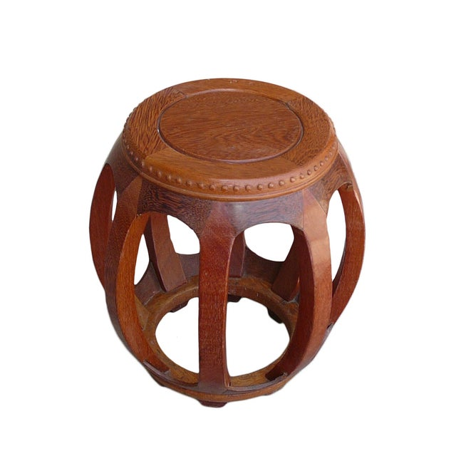 This is a nice, traditional Chinese style round barrel shape stool with a charming natural wood pattern and color from the...