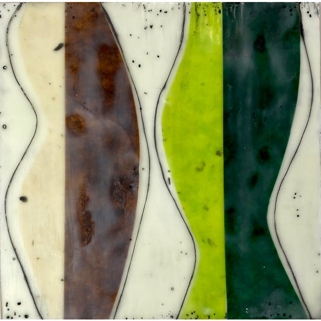 """""""Bodies in Motion"""" Encaustic Collage by Gina Cochran - 16 Piece Installation For Sale - Image 4 of 13"""