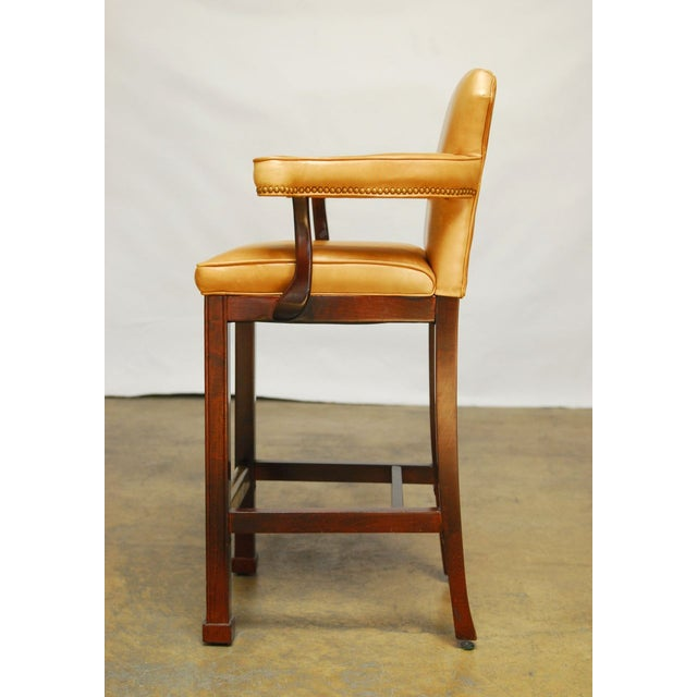 French Leather Moustache Bar Stools - Pair - Image 6 of 7