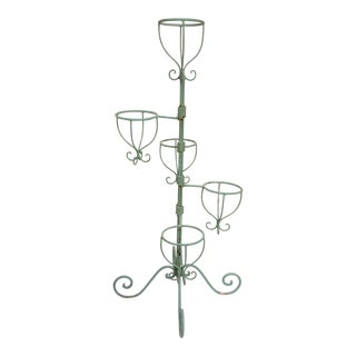Vintage Green Iron Plant Stand For Sale