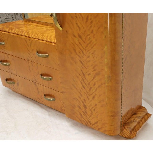 French Art Deco Chifforobe Dresser With Mirror Closet Cabinet Tiger Maple For Sale - Image 6 of 13
