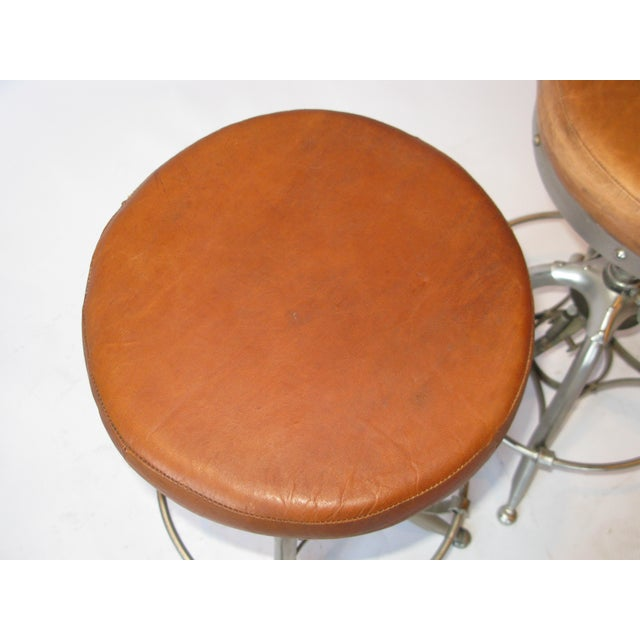 Late 20th Century Pair of Silver Tri Leg Stools For Sale - Image 5 of 7