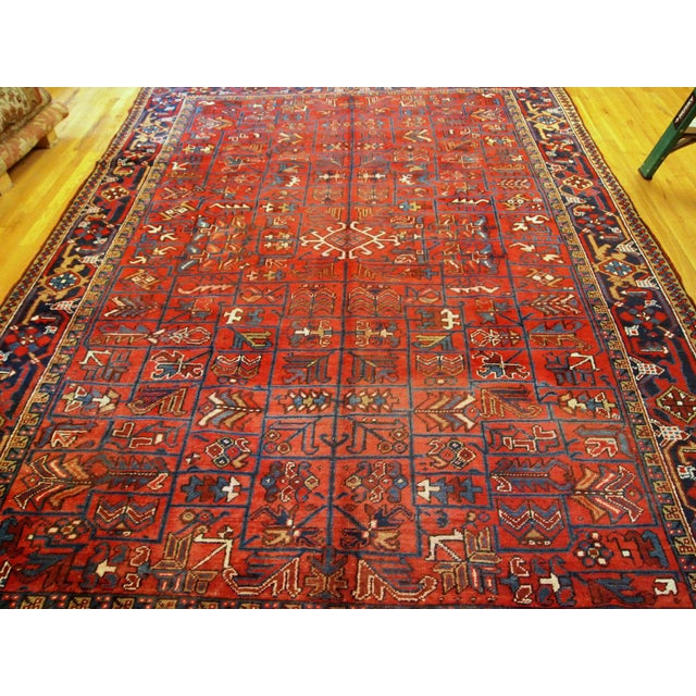 Red 1900s Handmade Antique Persian Heriz Rug 7.3' X 10.1' For Sale - Image 8 of 11