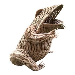 Vintage French Wicker Frog Basket For Sale