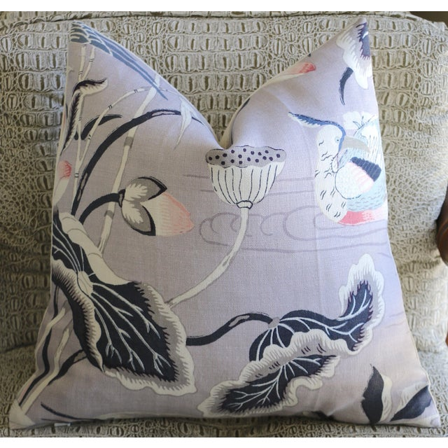 Lilac Lotus Garden Schumacher Pillow Cover For Sale In Los Angeles - Image 6 of 6