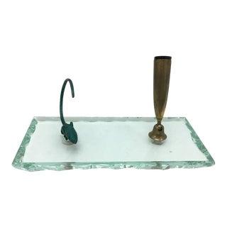 1950s Italian Mid-Century Modern Verde Nilo Glass Pen Holder For Sale
