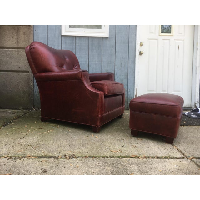 Art Deco Style Vintage Leather Chair & Ottoman - Image 3 of 9