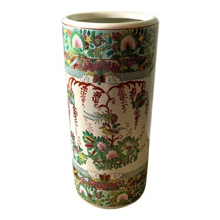 Vintage Green Chinoiserie Umbrella Stand For Sale
