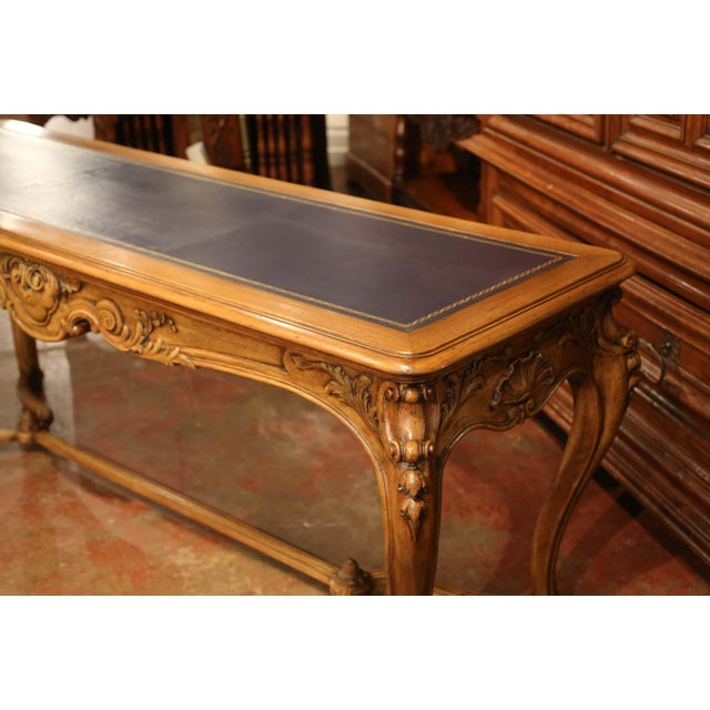 Large 19th Century French Louis XV Carved Walnut Console Desk With Leather Top For Sale - Image 10 of 13