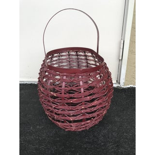 Vintage Metal and Rattan Woven Basket Preview
