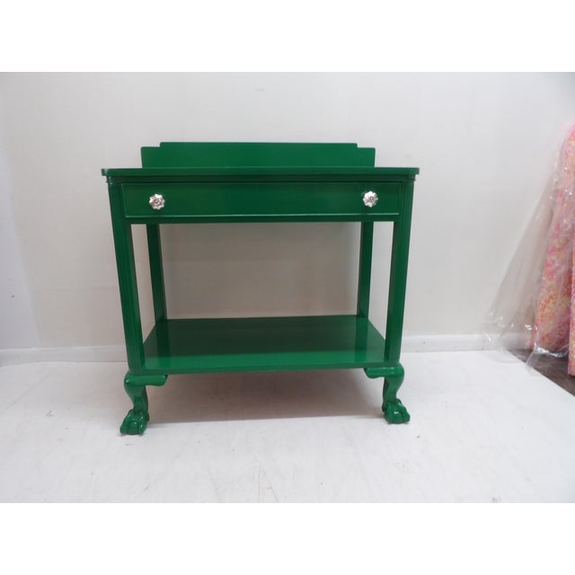 We have taken this unique antique wood console and reinvented it with a bold green (paint color is Amazon Moss), and new...