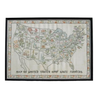 Vintage Hand Embroidered United States State Flower Map For Sale