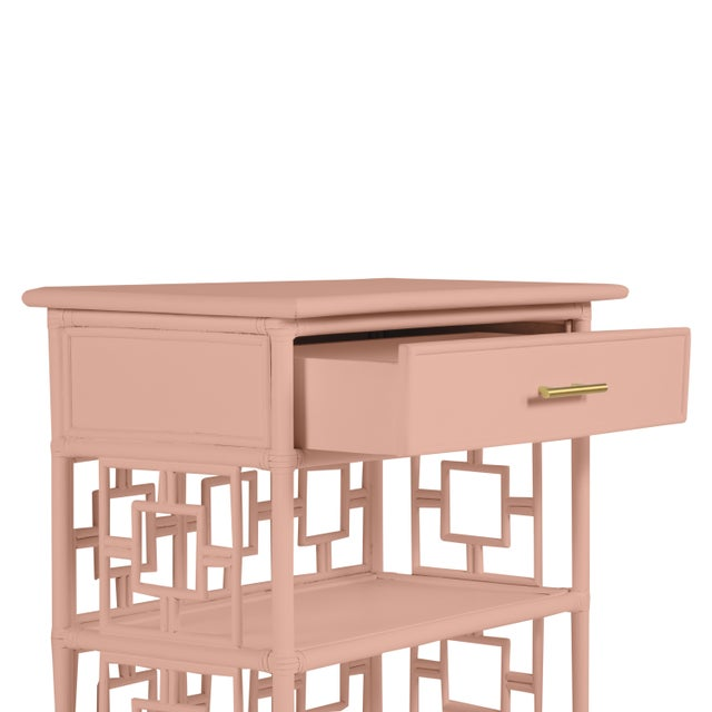 Chinoiserie David Francis Furniture for Chairish Soba End Table, Chippendale Rosetone For Sale - Image 3 of 4