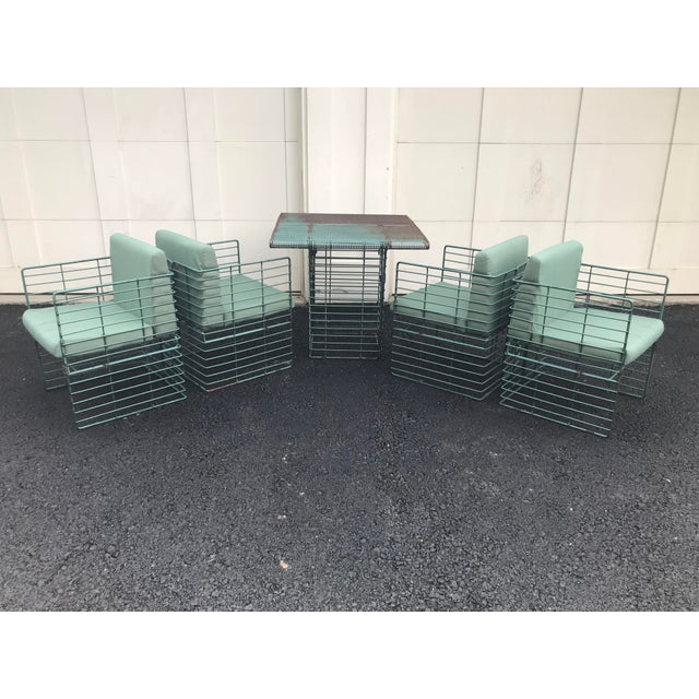 Rare Josef Hoffmann Style Curvilinear Perforated Outdoor Dining Set - 5 Pieces For Sale In Chicago - Image 6 of 12