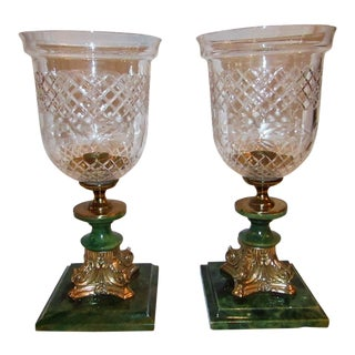 1990s Transitional Cut Glass Hurricane Lamps - a Pair