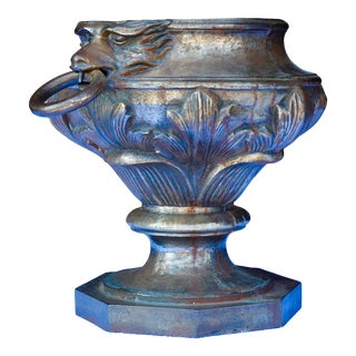 19th Century French Iron Urn With Lion Motif For Sale