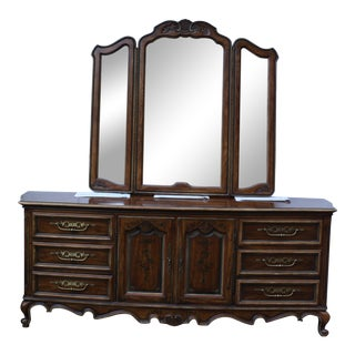 Vintage Drexel Heritage Brittany Collection Dresser With Original Mirror For Sale
