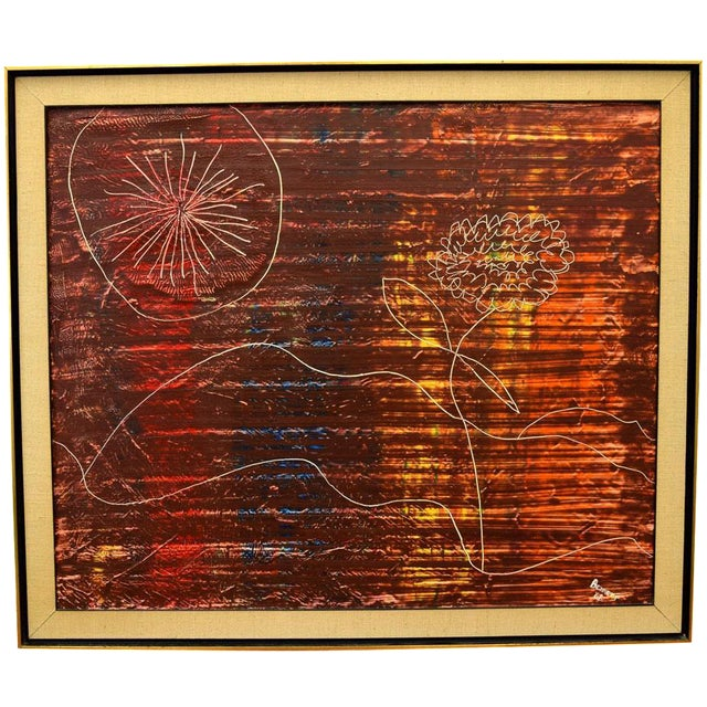 Original Signed 1966 Modernist Painting by Bennett For Sale