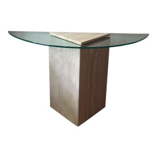 1980s Postmodern Geometric Travertine and Glass Console Table For Sale