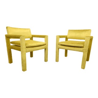 Velvet Milo Baughman for Thayer Coggin Parsons Chairs - a Pair For Sale
