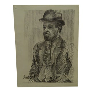 "Original Drawing Sketch ""Man With a Pipe"" by Tom Sturges Jr."