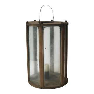 Late 19th Century Rustic Swedish Round Wooden Lantern For Sale