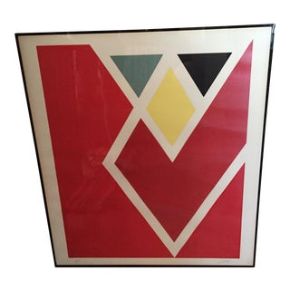 Larry Zox Diamond Drill Scarlet Serigraph For Sale