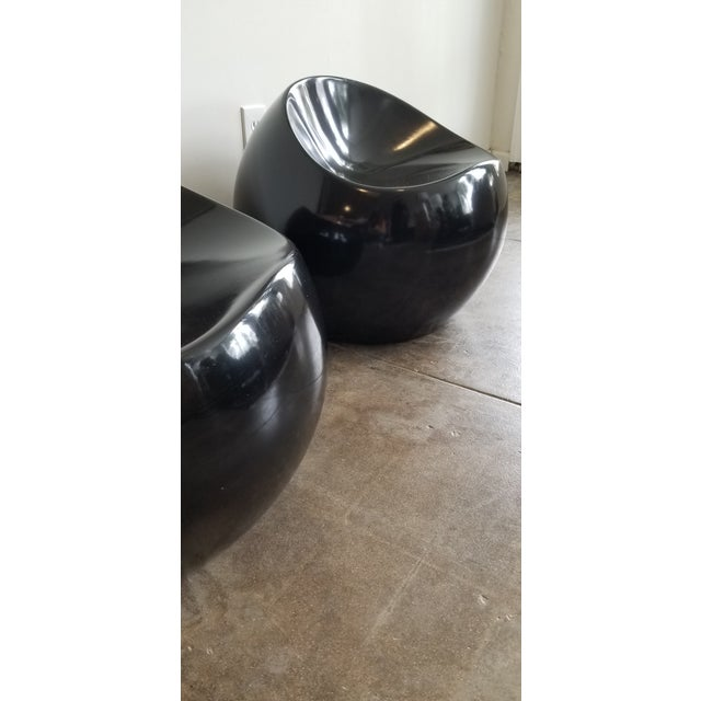 Contemporary 1980's Black Lacquer Boom Stools - a Pair For Sale - Image 3 of 5