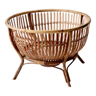 Mid-Century Rattan Basket For Sale