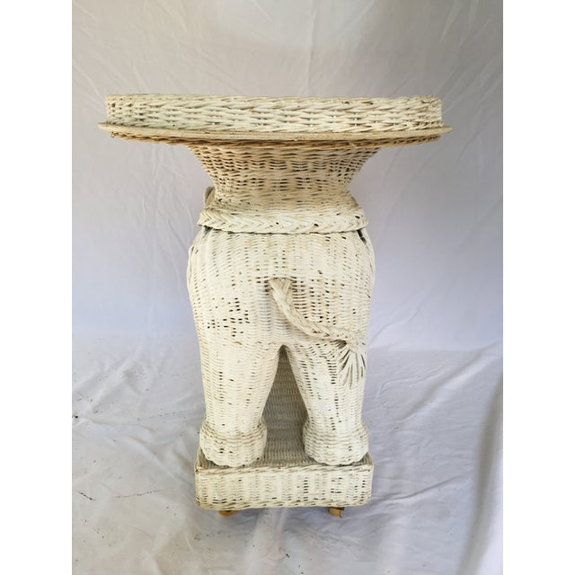 Wicker Vintage White Wicker Elephant Side Table With Mirrored Tray For Sale - Image 7 of 12