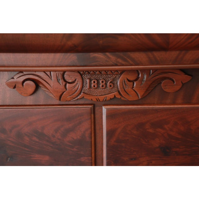 Late 19th Century Immaculate American Empire Flame Mahogany Highboy Chest of Drawers, Dated 1886 For Sale - Image 5 of 13