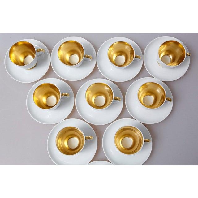 Set of 10 White and Gold Fürstenberg Porcelain Demitasse Cups & Saucers, Germany For Sale - Image 12 of 13