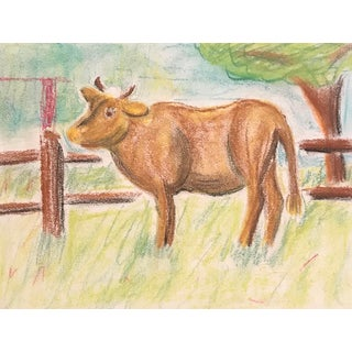 1960s Mid Century Modern Cow Oil Pastel by Phyllis Myrick For Sale