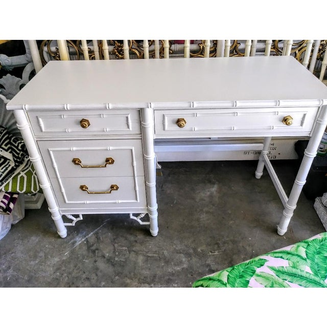 Green Thomasville Vintage Faux Bamboo Palm Beach Regency White High Gloss Desk W/Chair For Sale - Image 8 of 10