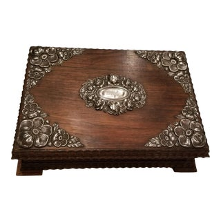 Antique Sterling Silver Mounted Jacaranda Box For Sale
