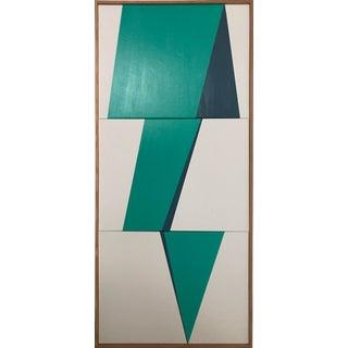"Original Acrylic Painting ""Aqua Jagged Triptych Jet0550"""