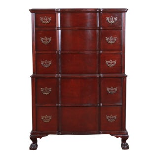 Chippendale Style Solid Mahogany Highboy Dresser by Kling For Sale