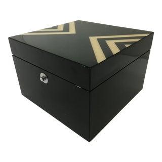 Ercolano Black Lacquer Box With Geometric Motif For Sale