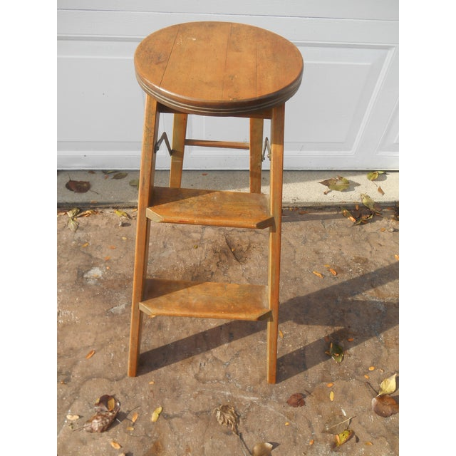 Marvelous 1910S Antique Folding Library Step Stool Gmtry Best Dining Table And Chair Ideas Images Gmtryco